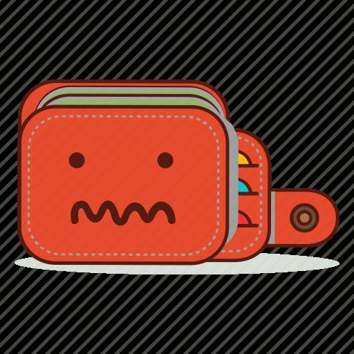 broke, cartoon, confused, cute, emoji, expression, wallet icon