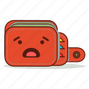 cartoon, cute, emoji, expression, upset, wallet, worried icon