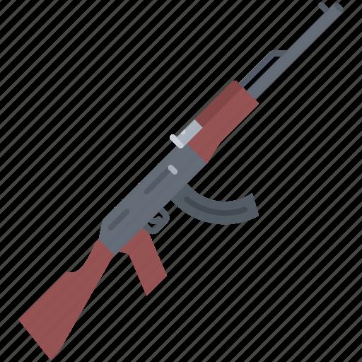 battle, kalashnikov, military, rifle, war, weapon icon