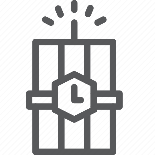 clock, crime, danger, dynamite, explosion, light, timer, weapon icon