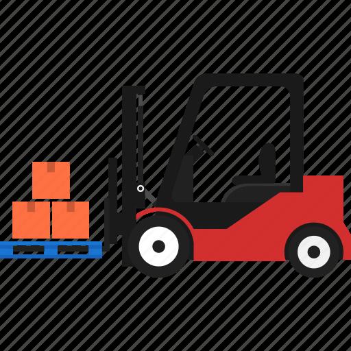box, folklift, logistics, pallet, transportation, warehouse icon