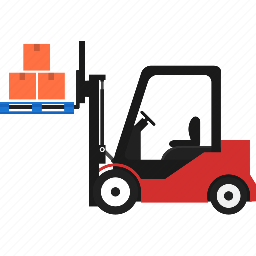 box, folklift, logistics, pallet, transportation, warehouse icon