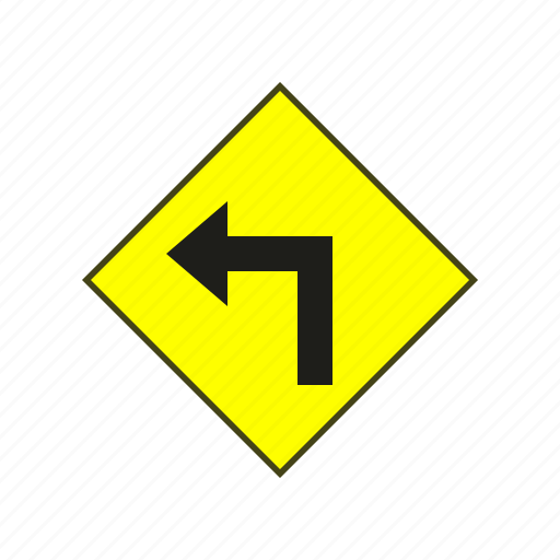 label, sign, turn left, warning, warning sign icon