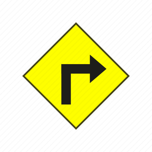 label, sign, turn right, warning, warning sign icon