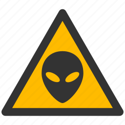 alarm, alert, alien, astronaut, attention, caution, damage, danger, exclamation, fantasy, futuristic, hazard, head, horror, monster, object, problem, protection, risk, safe, safety, satellite, science, space, spaceship, ufo, unknown, vehicle, visitors, warning icon
