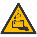 accumulator, alarm, alert, attention, battery, caution, charge, damage, danger, empty, exclamation, full, hazard, problem, protection, risk, safe, safety, warning icon