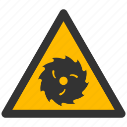 alarm, alert, attention, blade, caution, cut, damage, danger, exclamation, hazard, problem, protection, risk, safe, safety, saw, warning icon