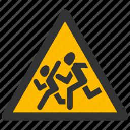 alarm, alert, attention, caution, child, children, damage, danger, exclamation, hazard, kids, problem, protection, risk, safe, safety, school, warning icon