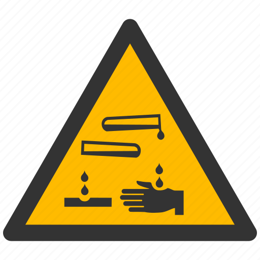 acid, alarm, alert, attention, caustic, caution, chemical, corrosive, damage, danger, exclamation, hazard, liquid, problem, protection, risk, safe, safety, warning icon
