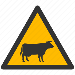 alarm, alert, attention, caution, cow, damage, danger, exclamation, hazard, problem, protection, risk, safe, safety, warning icon