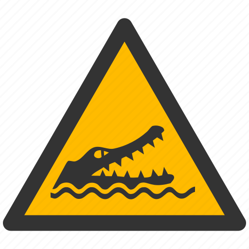 alarm, alert, attention, caution, croco, crocodile, damage, danger, exclamation, hazard, problem, protection, reptile, risk, safe, safety, warning icon