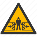 alarm, alert, attention, caution, crushing, damage, danger, exclamation, hazard, problem, protection, risk, safe, safety, warning icon