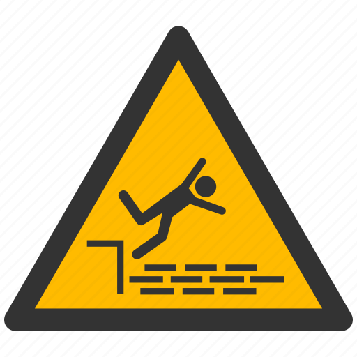 alarm, alert, attention, caution, damage, danger, exclamation, fall, hazard, problem, protection, risk, safe, safety, warning icon
