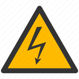 alarm, alert, attention, caution, charge, damage, danger, electric, electrical, electricity, energy, exclamation, hazard, high, light, power, problem, protection, risk, safe, safety, shock, voltage, warning icon