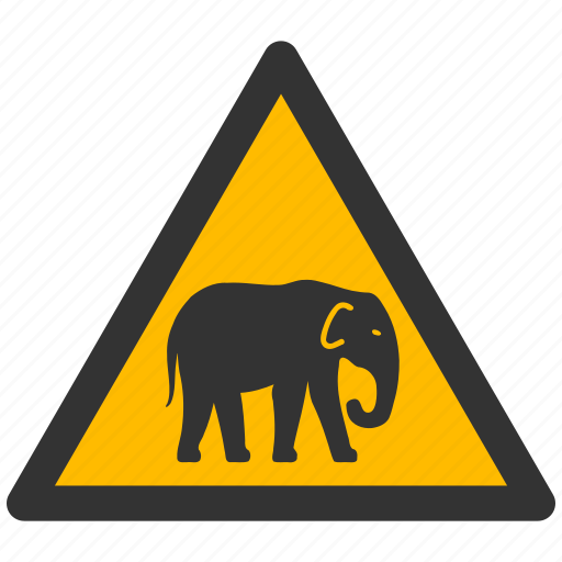 alarm, alert, attention, caution, chang, damage, danger, elephant, exclamation, hazard, mamont, problem, protection, risk, safe, safety, warning icon