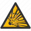 alarm, alert, attention, bomb, boom, caution, crash, damage, danger, exclamation, explode, explosion, explosive, explozive, hazard, problem, protection, risk, safe, safety, warn, warning icon