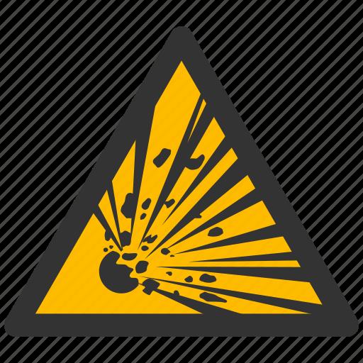 alarm, alert, attention, bomb, boom, caution, crash, damage, danger, exclamation, explode, explosion, explosive, explozive, hazard, problem, protection, risk, safe, safety, warn, warning icon
