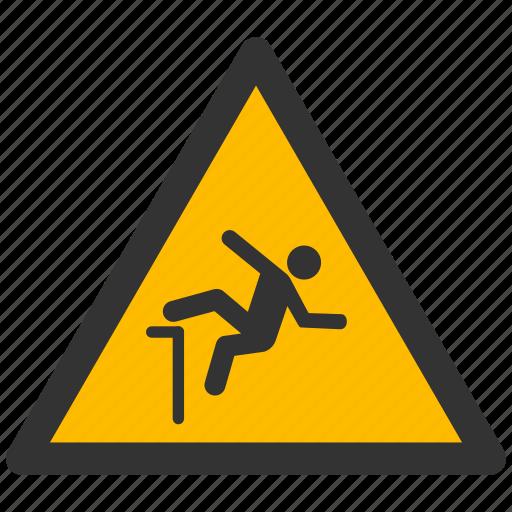 alarm, alert, attention, damage, danger, fall, falling, hazard, problem, protection, risk, safe, safety, warning icon