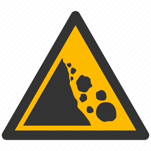 alarm, alert, attention, caution, damage, danger, exclamation, falling, hazard, problem, protection, risk, rocks, safe, safety, warning icon