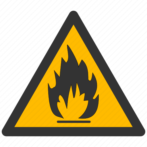 caution, danger, exclamation, fire, flame, flameable, flammable, hazard, materials, problem, protection, risk, safe, safety, warning icon