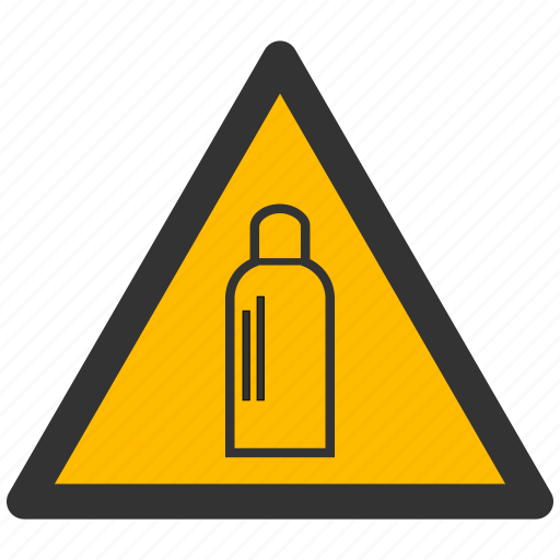 alarm, alert, attention, bottle, caution, damage, danger, exclamation, gas, hazard, problem, protection, risk, safe, safety, warning icon
