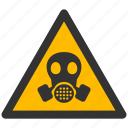 alert, attention, caution, damage, danger, gas mask, hazard, problem, protection, respirator, risk, safe, safety, warning icon