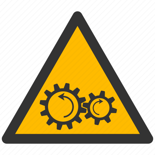 alarm, alert, attention, caution, damage, danger, exclamation, gears, hazard, problem, protection, risk, rotation, safe, safety, warning icon