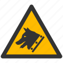 alarm, alert, attention, caution, damage, danger, dog, exclamation, guard, hazard, problem, protection, risk, safe, safety, warning, watchdog icon