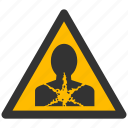 alarm, alert, attention, breath, caution, damage, danger, exclamation, hazard, health, problem, protection, risk, safe, safety, warning icon