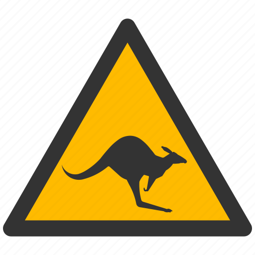 alarm, alert, attention, caution, damage, danger, exclamation, hazard, kangaroo, problem, protection, risk, safe, safety, warning icon