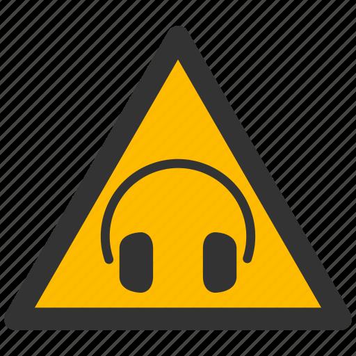 alarm, alert, attention, caution, damage, danger, exclamation, hazard, head phones, loud, problem, protection, risk, safe, safety, sound, warning icon
