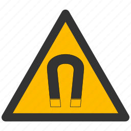 alarm, alert, attention, caution, damage, danger, exclamation, field, hazard, magnet, magnetic, problem, protection, risk, safe, safety, warning icon