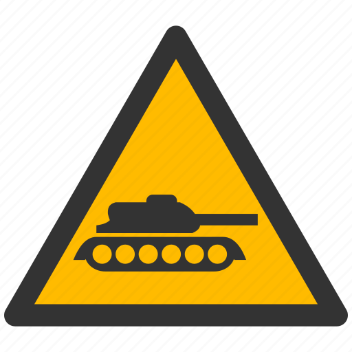 alarm, alert, attention, caution, damage, danger, exclamation, hazard, military, panzer, problem, protection, risk, safe, safety, tank, warning icon