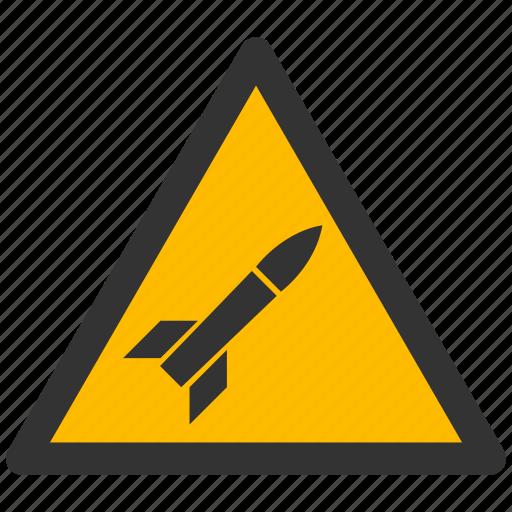 alarm, alert, attention, caution, damage, danger, exclamation, hazard, missile, problem, protection, risk, rocket, safe, safety, warning icon