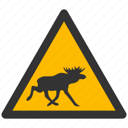 attention, caution, damage, danger, exclamation, hazard, moose, problem, protection, risk, safe, safety, warning icon