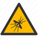 alarm, alert, attention, caution, damage, danger, exclamation, flight, fly, hazard, infection, malaria, mosquito, problem, protection, risk, safe, safety, warning icon