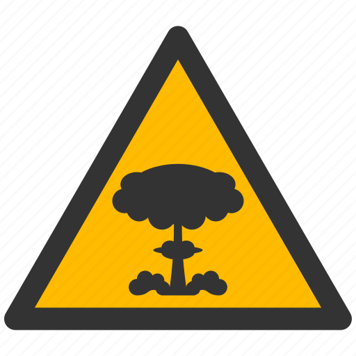 alarm, alert, atomic, attention, bomb, boom, caution, crash, damage, danger, exclamation, explode, explosion, explosive, hazard, nuclear, problem, protection, risk, safe, safety, warning icon