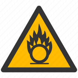 alarm, alert, attention, caution, damage, danger, exclamation, gases, hazard, oxidize, oxidizing, problem, protection, risk, safe, safety, warning icon