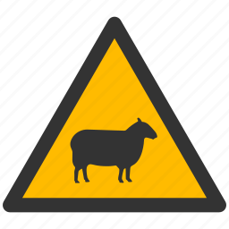 alarm, alert, attention, caution, damage, danger, exclamation, hazard, mutton, problem, protection, ram, risk, safe, safety, sheep, warning icon