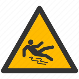 alarm, alert, attention, caution, damage, danger, exclamation, hazard, problem, protection, puddle, risk, safe, safety, slippery, warning icon