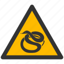 alarm, alert, attention, caution, damage, danger, exclamation, hazard, problem, protection, risk, safe, safety, snake, snakes, warning icon