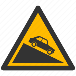 alarm, alert, attention, caution, damage, danger, descent, exclamation, hazard, problem, protection, risk, safe, safety, steep, warning icon