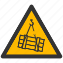 alarm, alert, attention, caution, damage, danger, exclamation, hazard, load, problem, protection, risk, safe, safety, suspended, warning icon