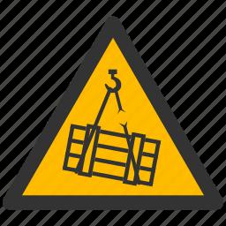 alarm, alert, attention, caution, damage, danger, exclamation, hazard, load, problem, protection, risk, safe, safety, suspended, warning icon