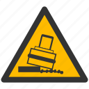 alarm, alert, attention, caution, damage, danger, exclamation, hazard, problem, protection, risk, rolling, safe, safety, tilt, tilting, warning icon