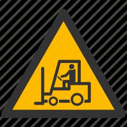 alarm, alert, attention, caution, damage, danger, exclamation, hazard, lift-loader, loader, problem, protection, risk, safe, safety, truck, warning icon