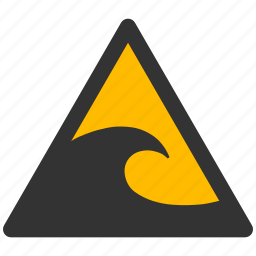 alarm, alert, attention, caution, damage, danger, exclamation, hazard, problem, protection, risk, safe, safety, storm, tsunami, warning icon