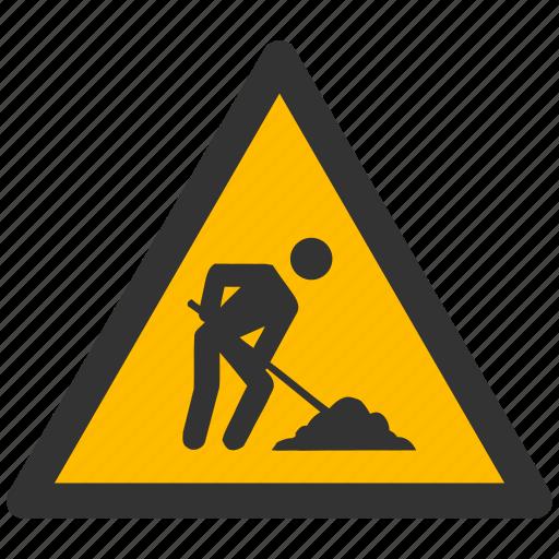 alarm, alert, attention, caution, construction, damage, danger, exclamation, hazard, job, problem, protection, risk, safe, safety, under, warning, work, worker, works icon