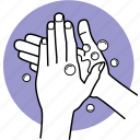 bubble, cleaning, hands, hygiene, soap, wash, washing icon