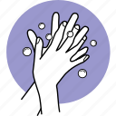 bubble, cleaning, fingers, hands, interlaced, soap, wash icon